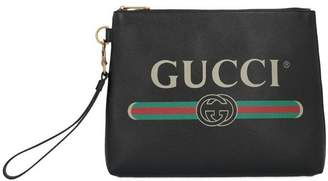 Gucci Logo Printed Clutch Bag