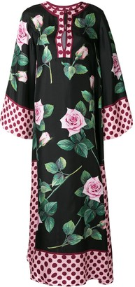 Dolce & Gabbana Rose-Print Evening Dress