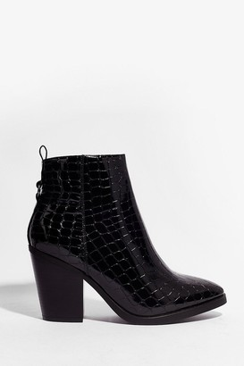 Nasty Gal Womens Croc 'Em in Their Tracks Wide Fit Heeled Boots - Black