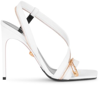 Versace Safety Pin Zipper Leather Slingback Sandals