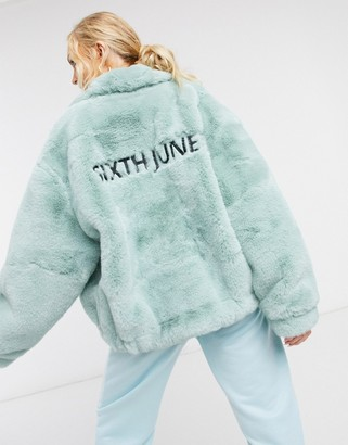 Sixth June oversized jacket in faux fur with logo