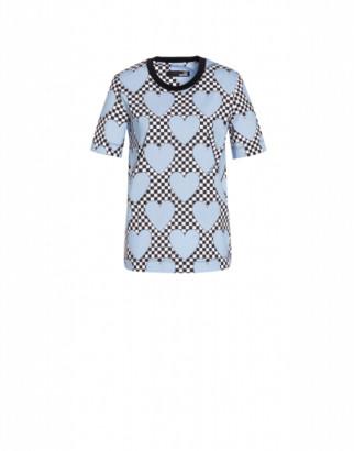 Love Moschino Hearts Jersey T-shirt Woman Blue Size 38 It - (4 Us)