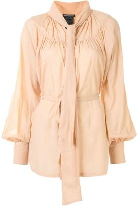 Ann Demeulemeester Front Tie Cotton-Cashmere Blouse