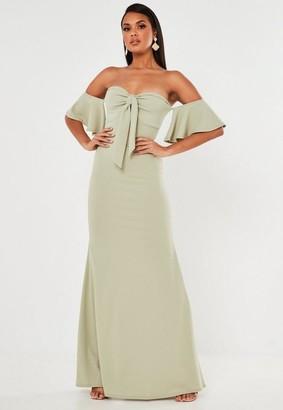 Missguided Crepe Tie Front Bardot Fishtail Maxi Dress