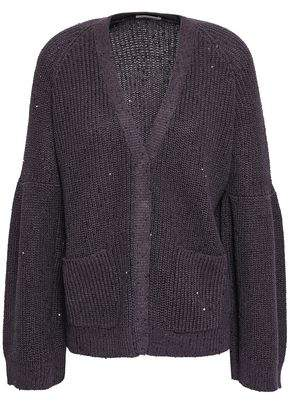 Brunello Cucinelli Embellished Ribbed Cotton, Linen And Silk-blend Cardigan