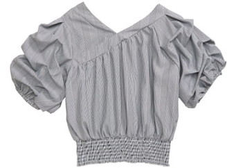 Habitual Adrienne Gathered Sleeve Stripe Top