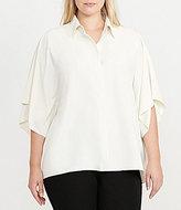 Lauren Ralph Lauren Plus Draped Button-Up Blouse