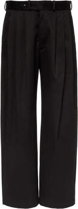 MONITALY Triple Tuck Wide-Leg Twill Pants