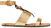 Chloé Metallic Cracked-leather Sandals - Gold