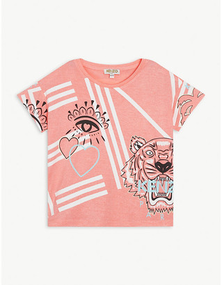 Kenzo Eye and tiger motif woven T-shirt 4-14 years