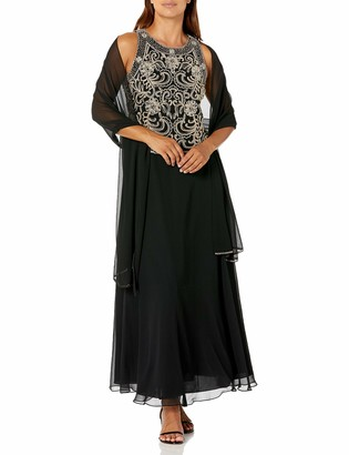 J Kara Women's Petite Beaded Sleeveless Long Dress with Scarf