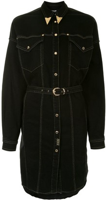 Versace Jeans Couture Embellished Collar Belted Shirt Dress