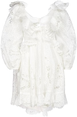 Zimmermann Lace Ruffle Mini Dress