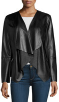 Neiman Marcus Vegan Leather Asymmetric Jacket, Black