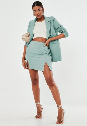 Missguided Petite Turquoise Co Ord Double Split Mini Skirt