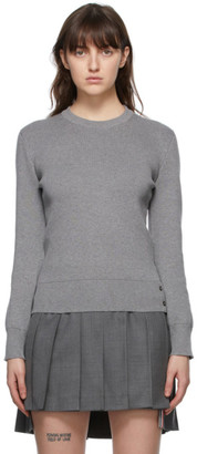 Thom Browne Online Exclusive Grey Milano Stitch Intarsia RWB Stripe Sweater