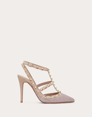 Valentino Rockstud Ankle Strap Calfskin Leather Pump With Tonal Studs 100 Mm Women Poudre Viscose 68%, Silk 32% 39.5