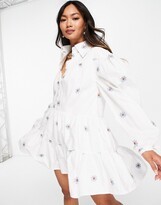 Thumbnail for your product : Lost Ink mini smock dress with collar and flower embroidery