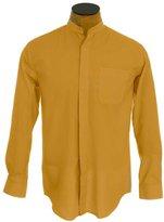 Sunrise Outlet Men's Collarless Banded Collar Dress Shirt - Gold 16.5 34-35