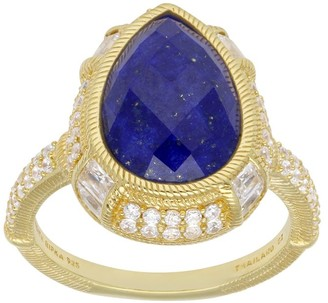 Judith Ripka 14K Clad Pear-Shaped Lapis and Diamonique Ring