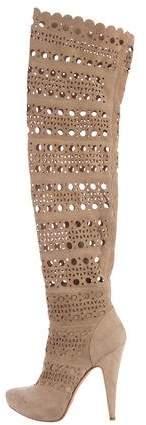 Gianmarco Lorenzi Laser Cut Thigh-High Boots