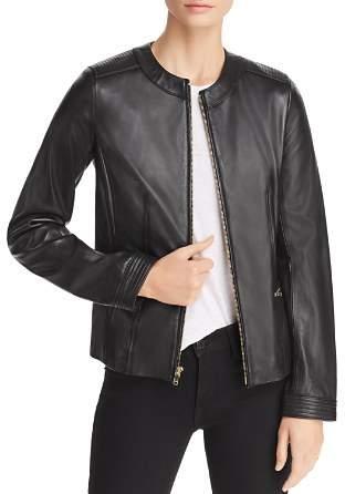 Cole Haan Lambskin Zip-Front Jacket
