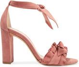 Alexandre Birman Lupita Ruffle-trimmed Suede Sandals - Antique rose