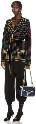 Gucci Long Sleeve V Neck Jacket in Black & Multicolor | FWRD