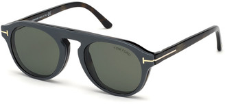 Tom Ford Men's Havana Optical Blue Block Glasses w/ Magnetic Clip-On Leather Sun Lenses