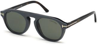Tom Ford Men's Havana Optical Blue Block Glasses w/ Magnetic Clip-On Leather Sun Lenses