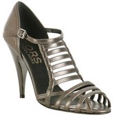 KORS Michael Kors pewter leather 'Private' strappy sandals