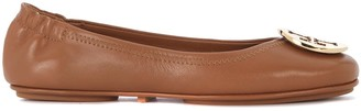 Tory Burch Minnie Travel Brown Nappa Leather Flat