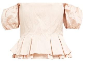 Brock Collection Orsman Hammered Satin Peplum Top - Womens - Pink
