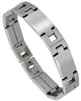 Sabrina Silver Stainless Steel Men's Large Rectangular Bar Link Bracelet Mirror Finish 1/2 inch wide, 8 inch long