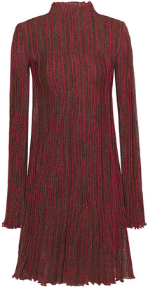 M Missoni Pleated Metallic Crochet-knit Mini Dress