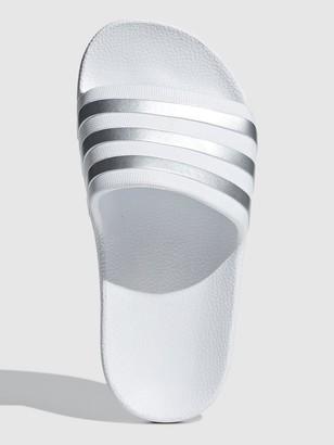 adidas Adilette Aqua Sliders - White/Silver