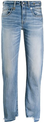 R 13 distressed hem boyfriend jeans
