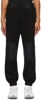 Song For The Mute Black Elasticated Knee Patch Lounge Pants