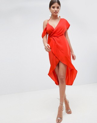 Asos DESIGN Sexy Satin Asymmetric Drape Midi Pencil Dress
