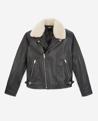 The Kooples Black leather jacket w/white sheepskin collar
