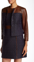 Theory Tieron Heighten Genuine Leather Trimmed Tweed Jacket