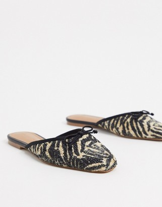 Who What Wear Cara mule ballet flat shoes in zebra leather