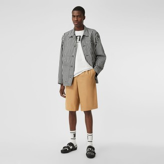 Burberry Icon Stripe Detail Cotton Twill Tailored Shorts