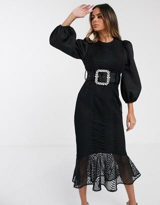 Asos Design DESIGN wiggle lace rhinestone belt pep hem midi dress-Black