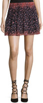 BCBGeneration Floral-Print Pleated Skirt, Black Multi