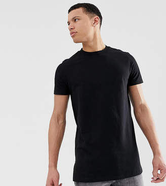 Asos Design DESIGN Tall longline t-shirt with crew neck and side splits in black