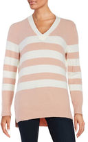 Calvin Klein Striped Knit Hi-Lo Sweater