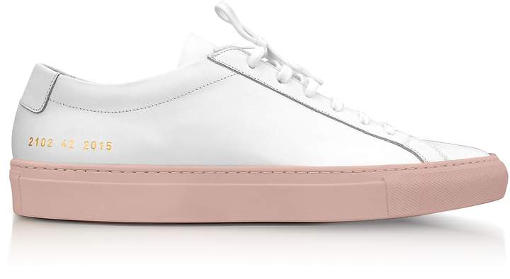 Common Projects White Leather Achilles Low Top Women's Sneakers w/Blush Rubber Sole