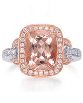 Frederic Sage Roma 18K Rose Gold Faceted Morganite & Diamond Ring, Size 6.5