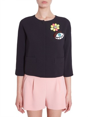 Boutique Moschino Flower And Eye Patch Collarless Jacket